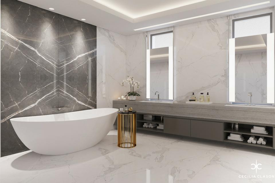 Luxury House Interior Designer Dubai – Master Bathroom Abs Palace – From CeciliaClasonInteriors.com