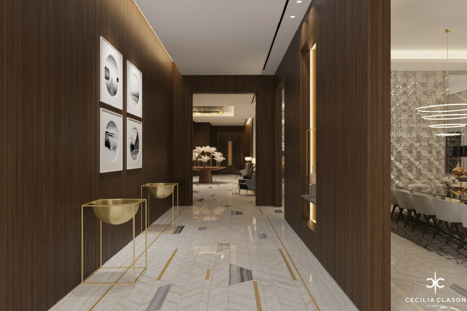 Luxury Top Residential Interior Designers Dubai – Corridor Abs Palace – From CeciliaClasonInteriors.com