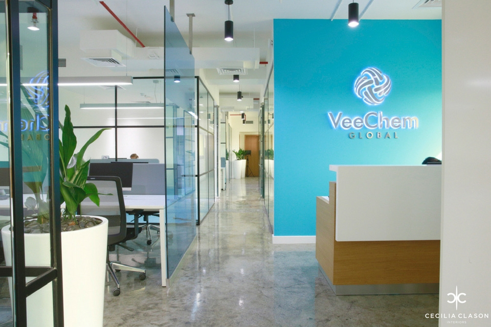 (1) Office Interior Designers Dubai - Veechem Offices Reception - From CeciliaClasonInteriors.com
