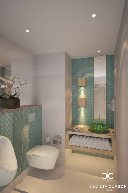 (3) Interior Designers For Hotels Dubai - Holiday Inn Powder Room - From CeciliaClasonInteriors.com