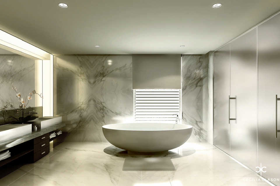 (8) Residential Interior Design Companies Dubai - Kapsarc Executive Villa Master Bathroom - From CeciliaClasonInteriors.com