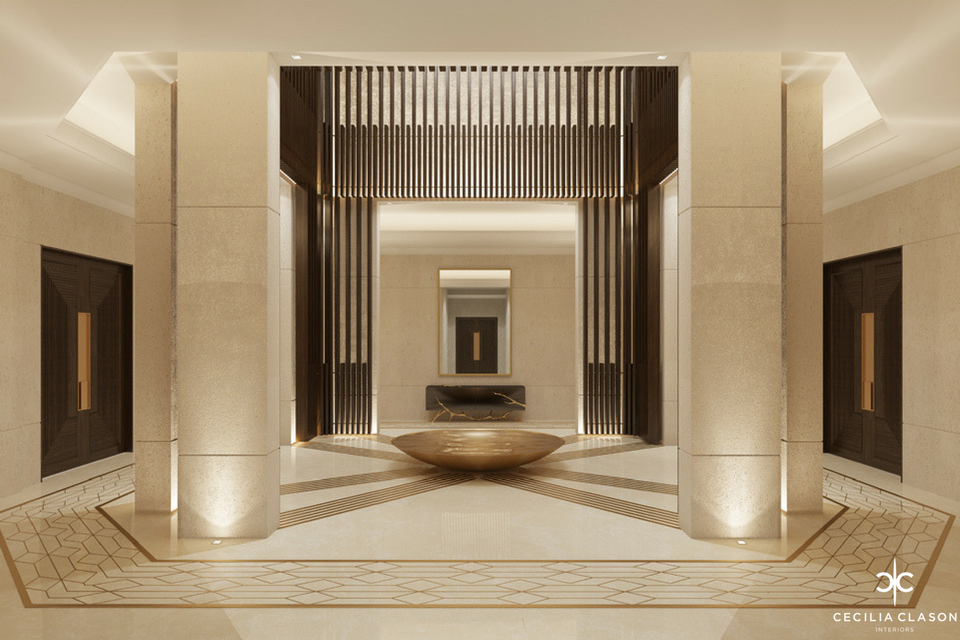 Luxury Interior Designers Residential Dubai - Building Main Entrance Abs Palace - From CeciliaClasonInteriors.com