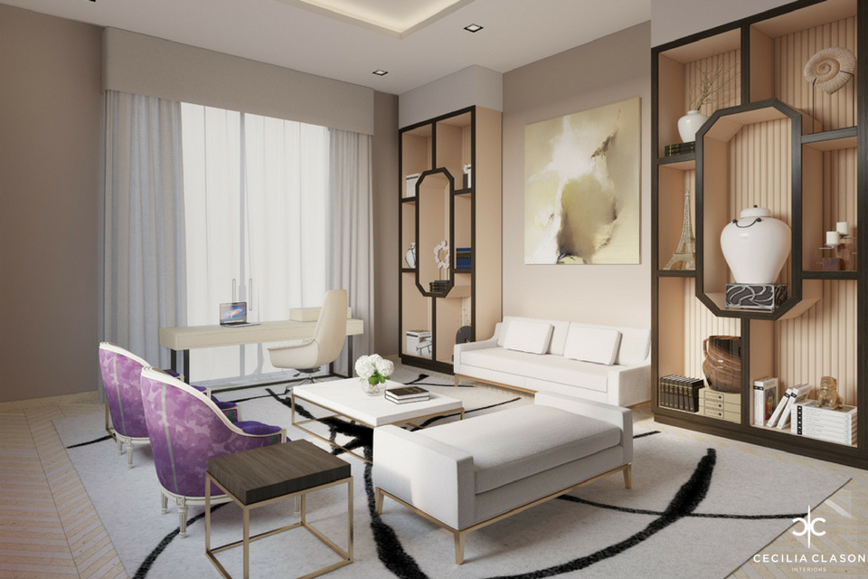 Luxury Residential Interior Design Firms in Dubai - Office Ensuite Abs Palace - From CeciliaClasonInteriors.com