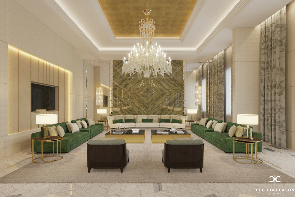 Luxury Residential Interior Designer in Dubai – Main Majlis Abs Palace – From CeciliaClasonInteriors.com