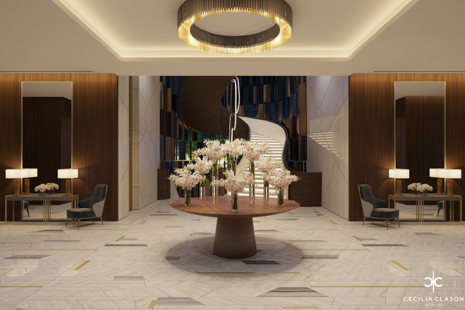 Residential Interior Design Companies in Dubai - Lobby Abs Palace - From CeciliaClasonInteriors.com