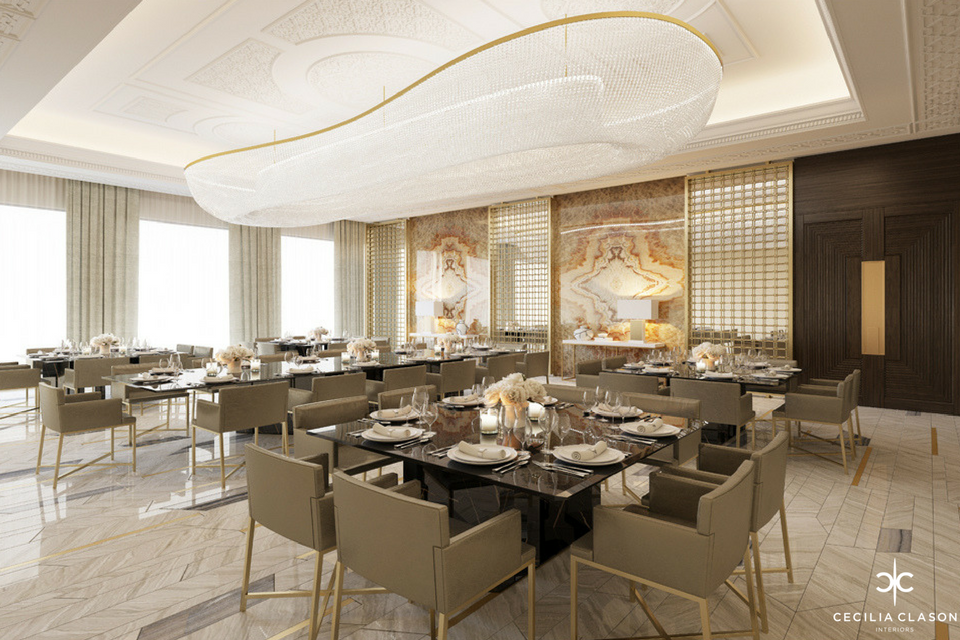 Residential Interior Design Firms Dubai - Large Dining Abs Palace - By CeciliaClasonInteriors.com