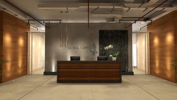 Office Reception Interior Design - Al Mal Capital