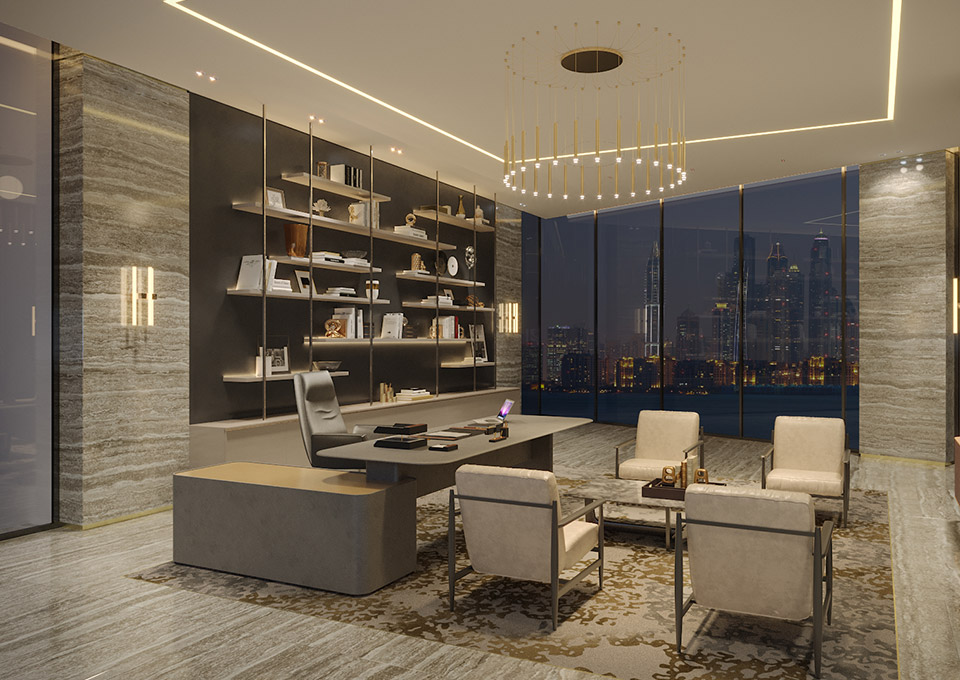 Executive Office Design - Contemporary without feeling minimal, luxurious without feeling excessive. Travertine walls & floor