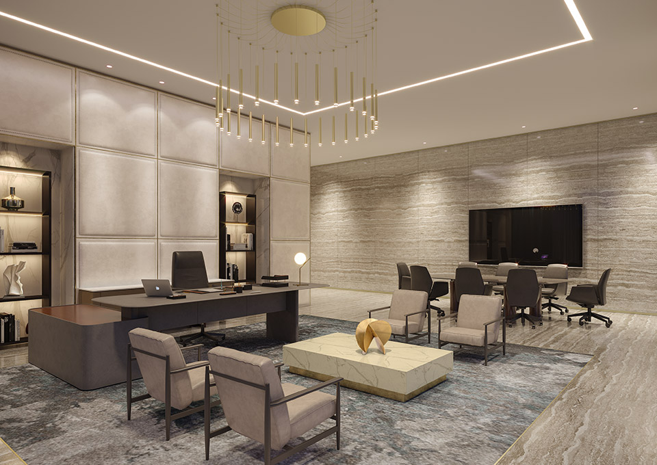 Executive Office Design - Travertine walls & floor with marble coffee table, chandelier, ceiling lights & padded wall panels