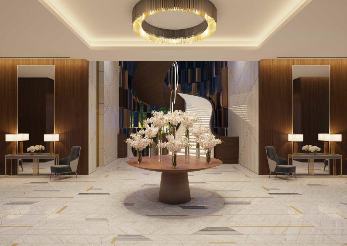 Lobby Interior Design - - Serpeggiante marble floors beneath centerpiece & circular chandelier & dark wood slat wall