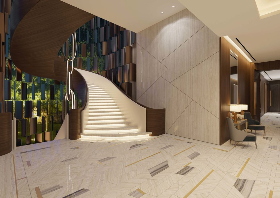 Staircase Design - Spiral shaped staircase with timber veneer and white curved handrail & lighting in steps, made from marble