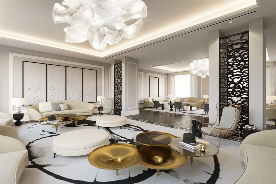 Ladies Majlis Interior - Curved furniture, gold accents, rose chandeliers, Chinese black lacquer screens, black swirl carpet