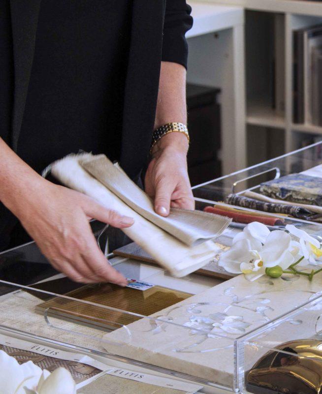 Cecilia Clason Interior Designer Dubai material board selection - marbles & fabrics