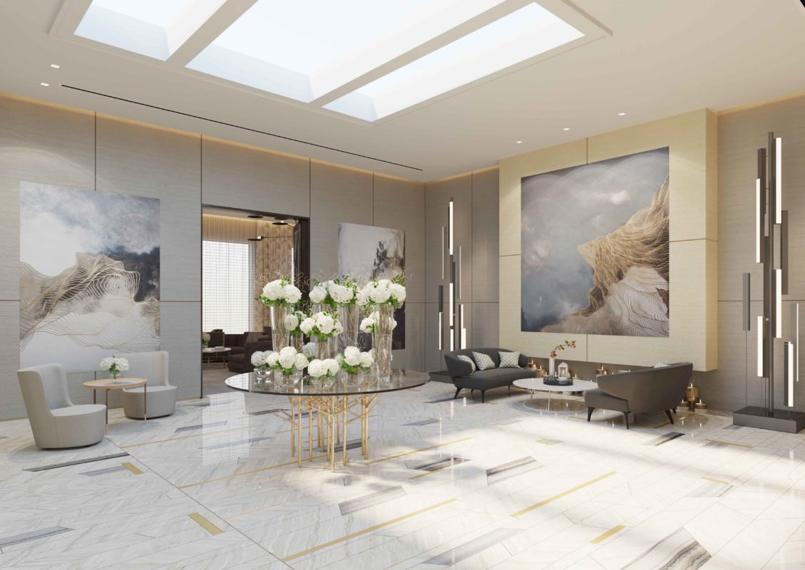 Family Entrance Design - tables & sofas on Serpengiete Marble floor & marble wall with Coelux lighting solutions & wall art.