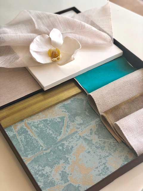 Interior Design Material Board Selection - Marbles, tiles & fabrics selection