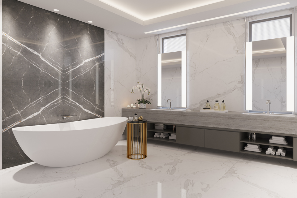 Bathroom Interior Design - Marble walls, floors & counters with luxury freestanding bath & gold leg side table