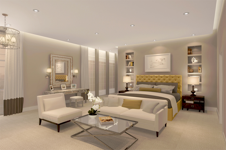 Luxury Bedroom Interior - Modern low ceiling with lighting over luxury bed & sofas with wall recessed shelving & carpets