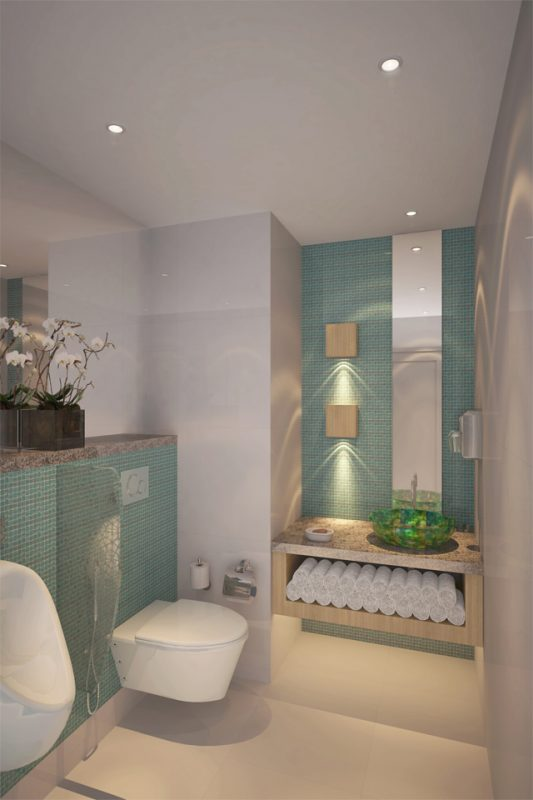 Bathroom Interior Design - Teal wall features and marble counter with towel storage