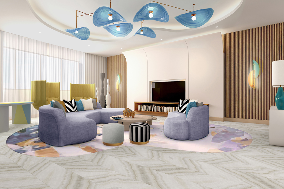 Living Room Design - Fun, colorful room with funky & modern lighting, wood slatted wall features, curved sofa & marble floor