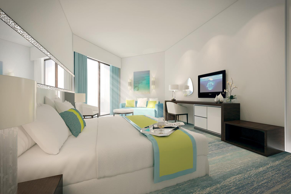 Hotel Design - Modern furniture on blue & white textured floor with matching blue curtains & patterned wall lighting