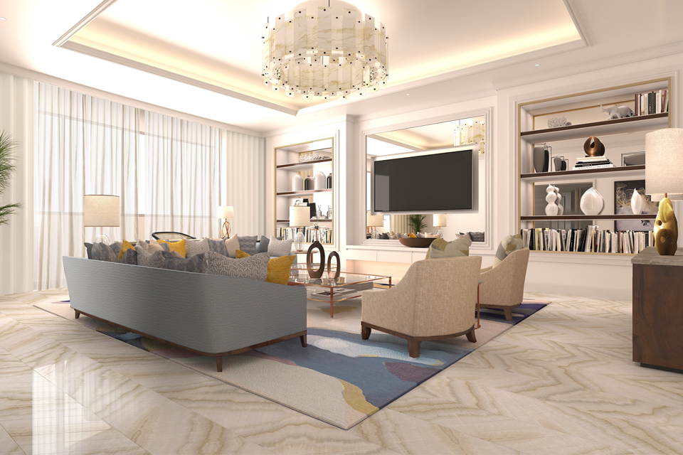 Hotel Room Design - Marble floor & chandelier with mirrored shelves & floating TV. Sofas & glass top table on abstract rug