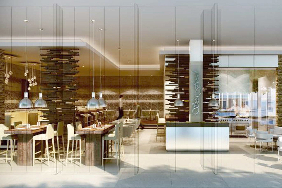 Restaurant Design - Solid dark wood tables, wooden wall art features & full glass partitions with hanging pendant lights