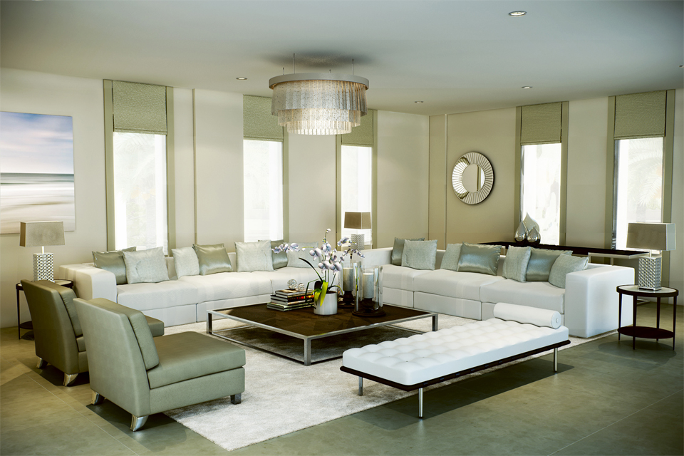 Living Room Design - Luxury leather sofas on marble floor & white rug, with narrow vertical windows and olive blinds