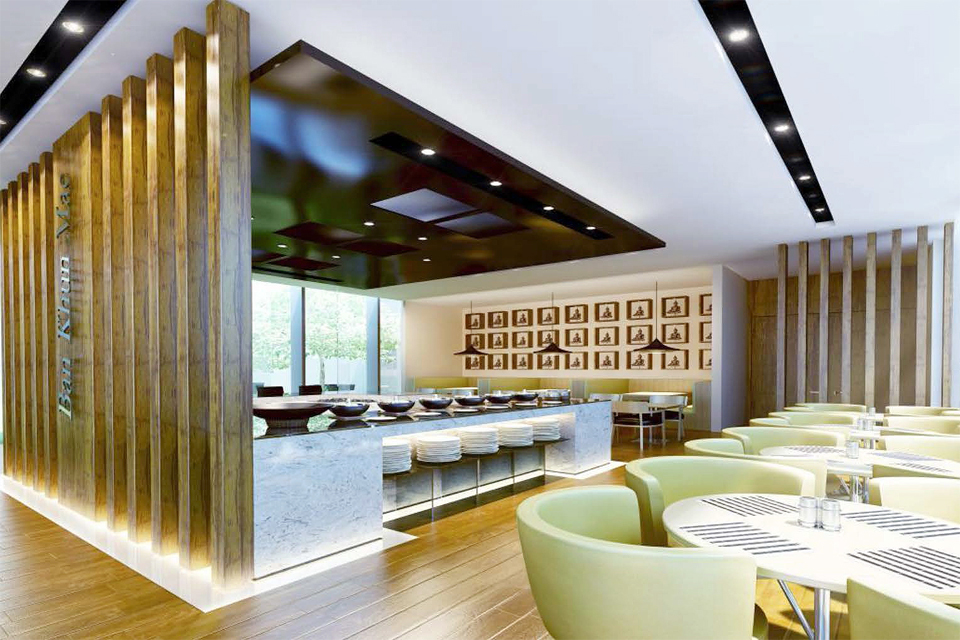 Restaurant with Asian influence - Modern dark wood ceiling design & lighting, marble counter and solid wooden pillars