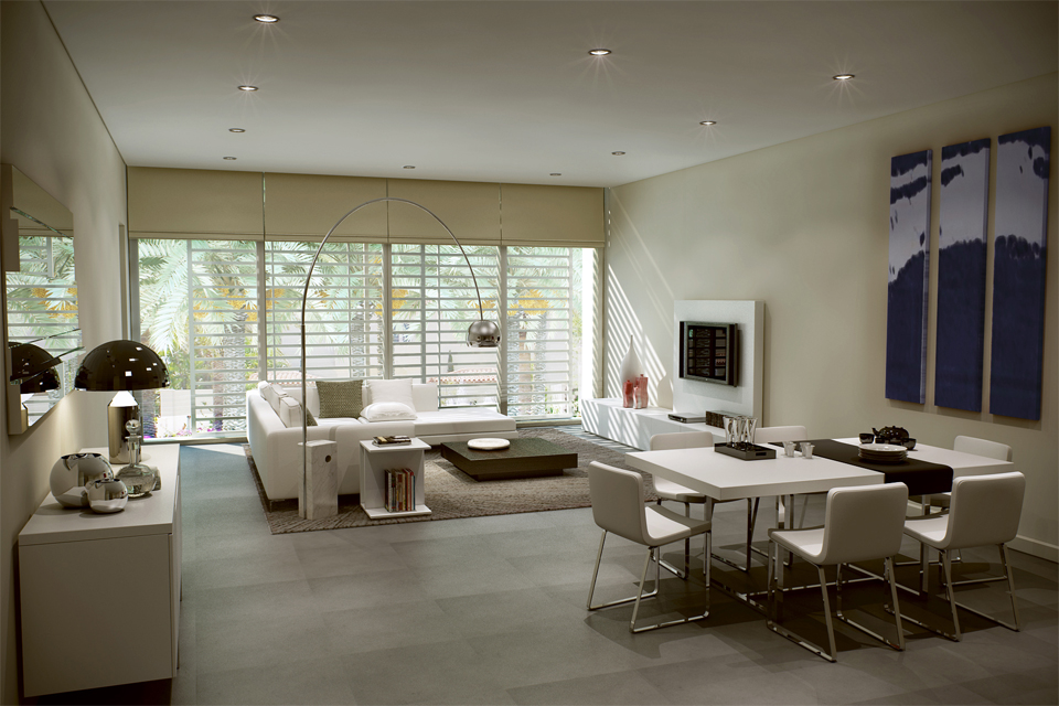 Living Room Design - White leather sofas on tiled floor & brown rug, with solid dark wood coffee table & built in fireplace