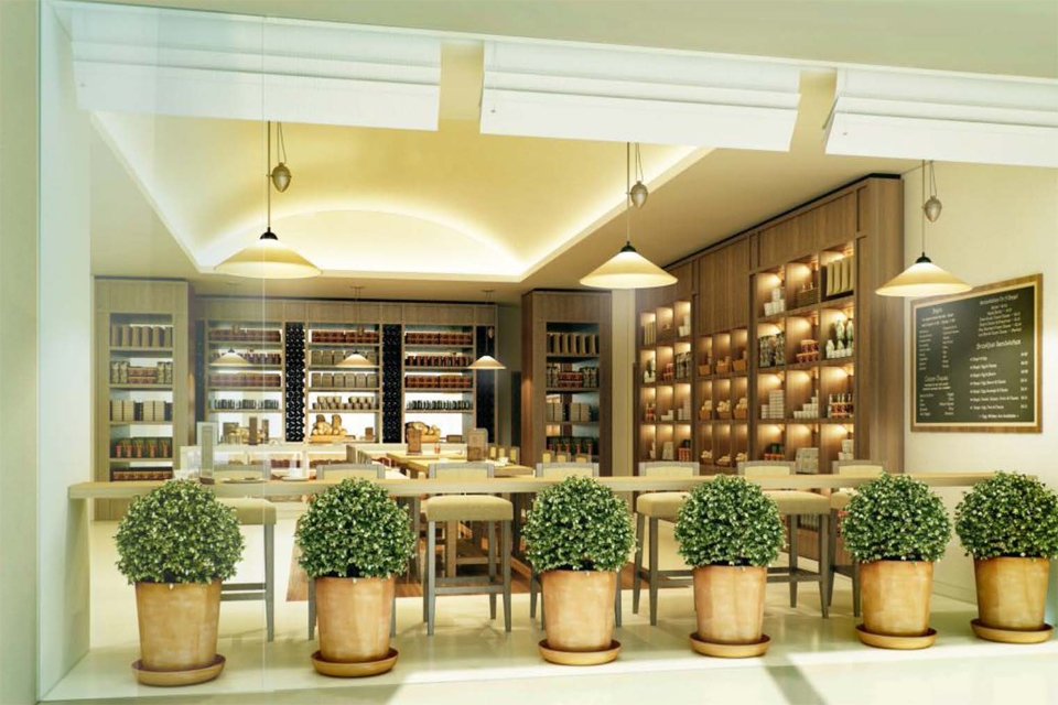 Cigar Lounge Design - Wooden features surrounding, like pot plants, shelving & furniture with hanging lights & white blinds
