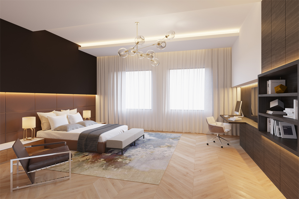 Luxury Bedroom Interiors - Black top & lower padded feature wall with patterned wooden flooring & dark wood built in cabinets