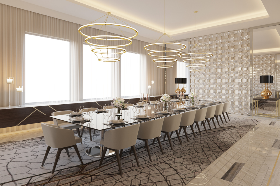 Dining Room Design - Modern look with graphics Lasvit crystal wall, black dining table and beige organic carpet