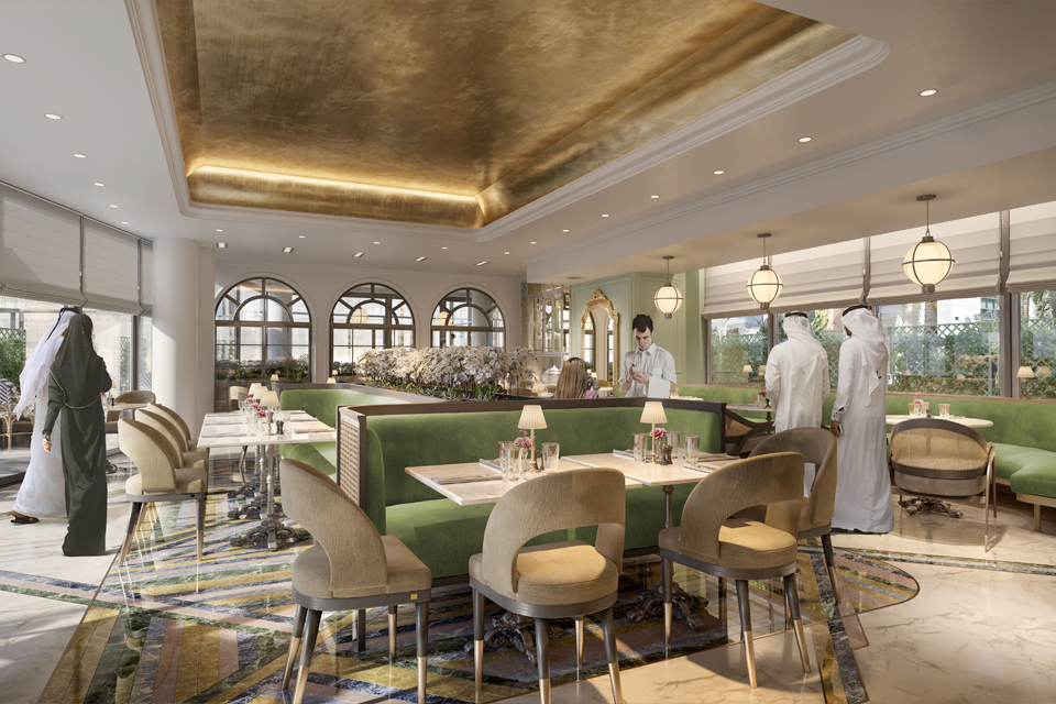 Restaurant Design - Velvet booths, marble top tables with rattan chairs on marble floor with golden roof & ceiling lights