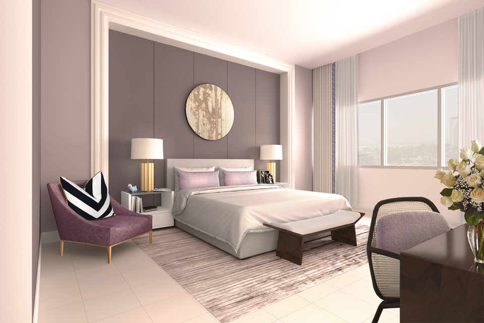 Hotel Bedroom Design - Bed on striped rug next to velvet purple chair, with modern panels behind bed & circular wall art