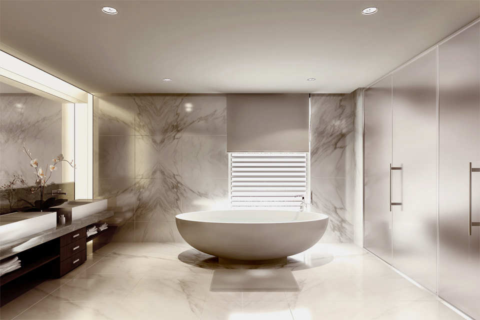 Bathroom Design - Free standing luxury bath next to marble walls, wall light feature, counters & frosted glass wardrobes