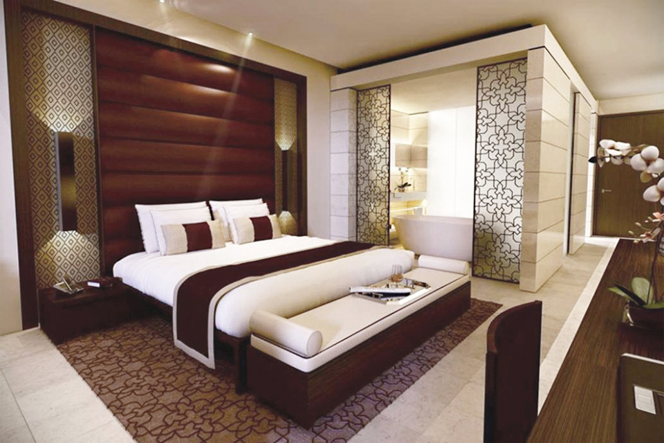 Hotel Room Design - Dark wood furniture with large headboard, patterned wall lighting feature & built-in room divider