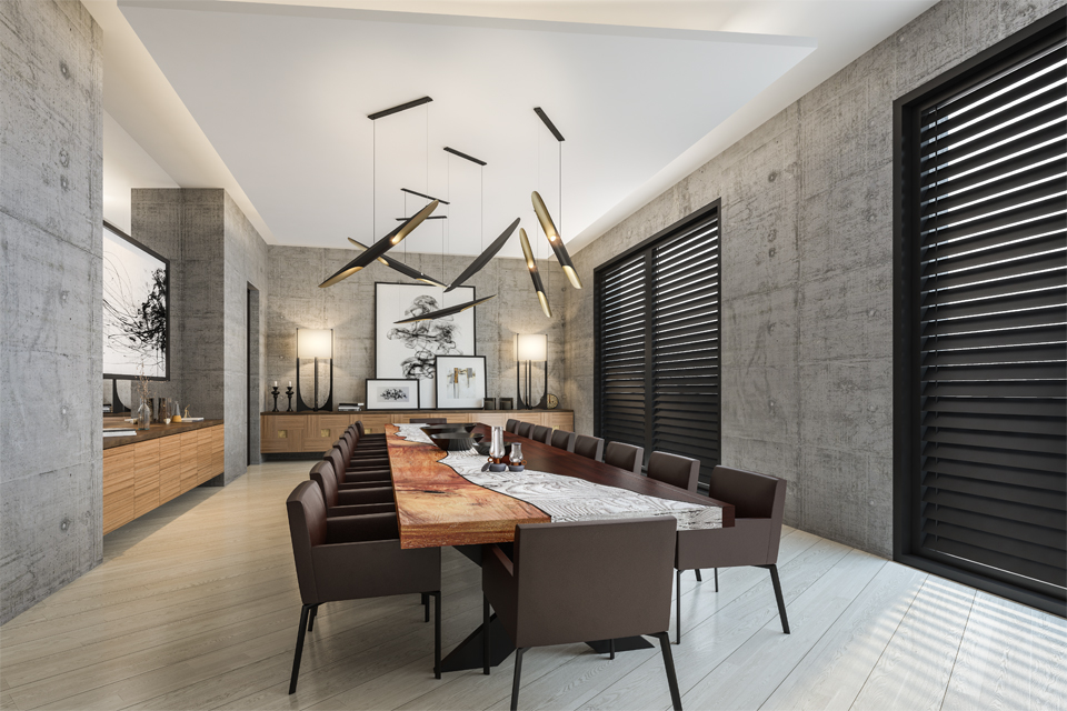 Dining Room Design - Diagonal flooring below large solid wood table & bamboo style chandelier with dark wooden blinds