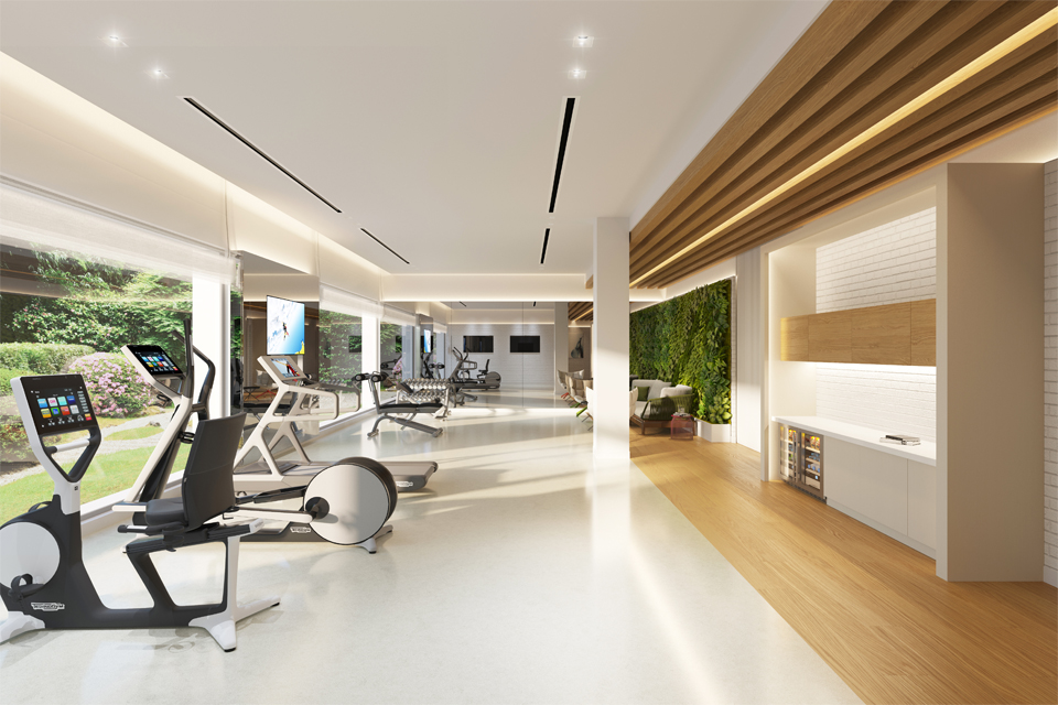 Interior Gym Design - Slated ceiling feature, cabinet with built in fridge & exercise equipment overlooking view from window