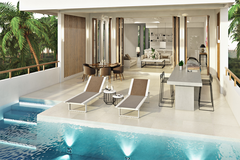 Pool Design by Cecilia Clason - Timber slates & granite table with luxury seating