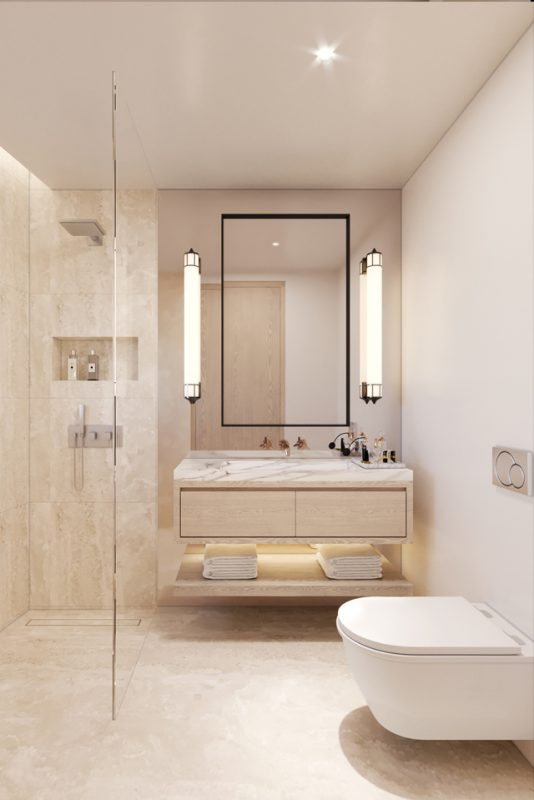 Interior Bathroom Design - Marble walls & floor with floating marble storage and lit towel rack beneath large square mirror