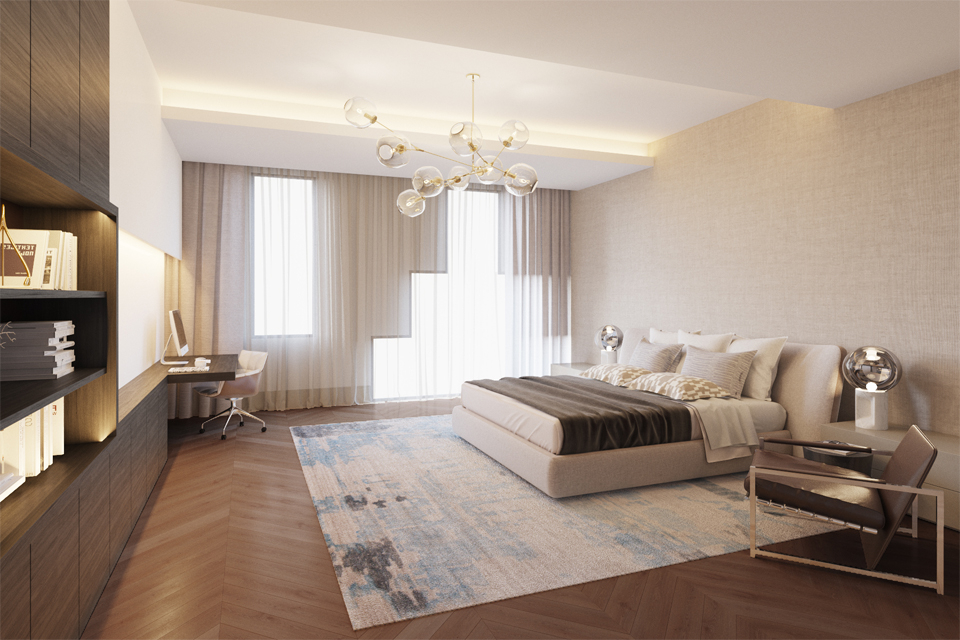 Luxury Bedroom Design - Built in timber wall units next to an abstract rug on a slanted diagonal wooden floor