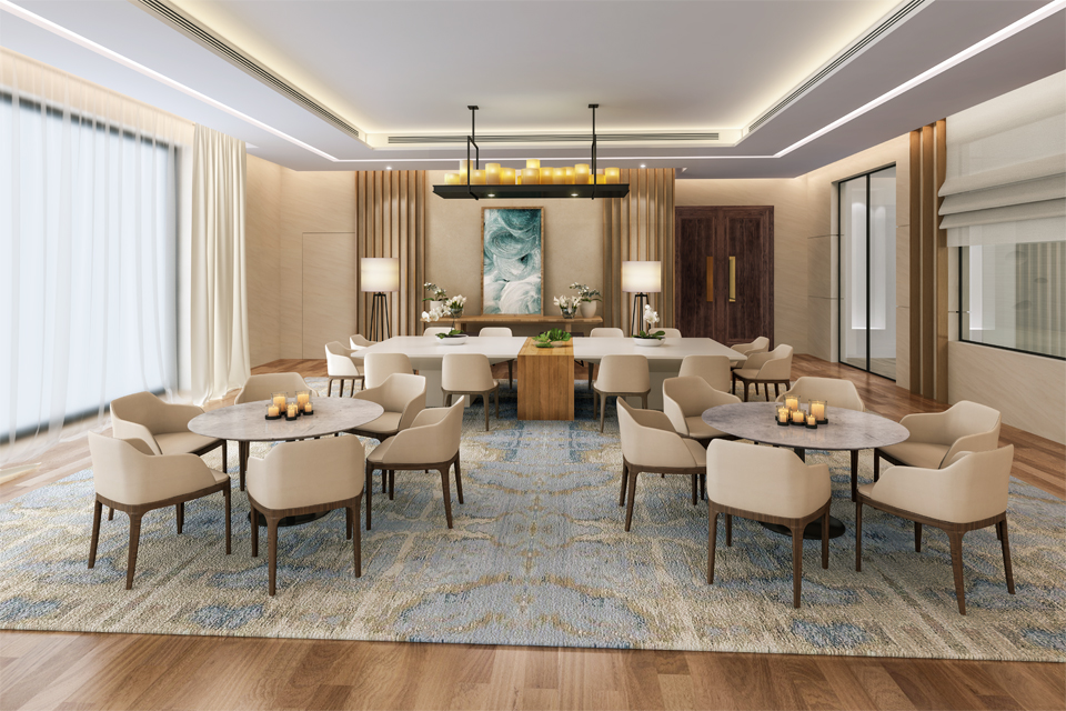 Dining Room Design - Candle chandelier above tables, chairs & large rug with modern ceiling design & lighting