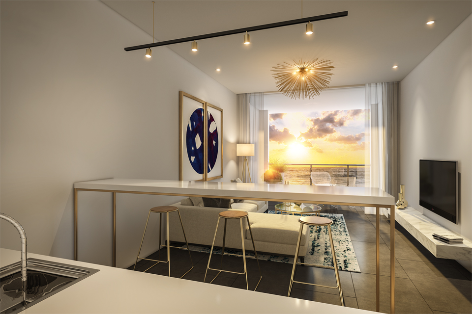 Apartment Design - Golden features in furniture, lighting & wall art frame with granite top kitchen counter & view