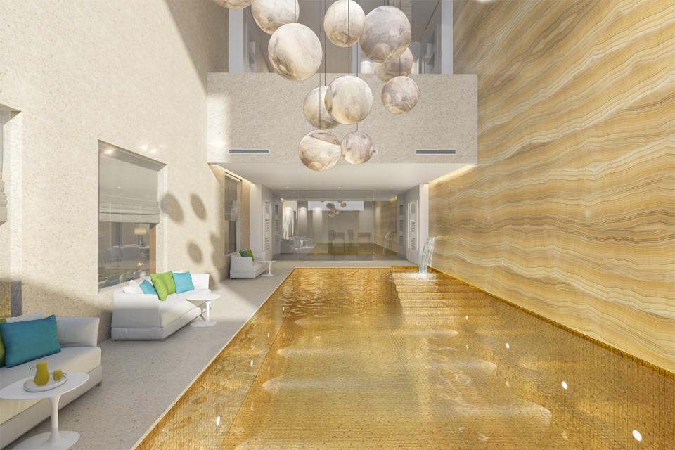 Interior Bath Design - Textured marble wall & pool with golden inner, under ball pendant hanging lighting