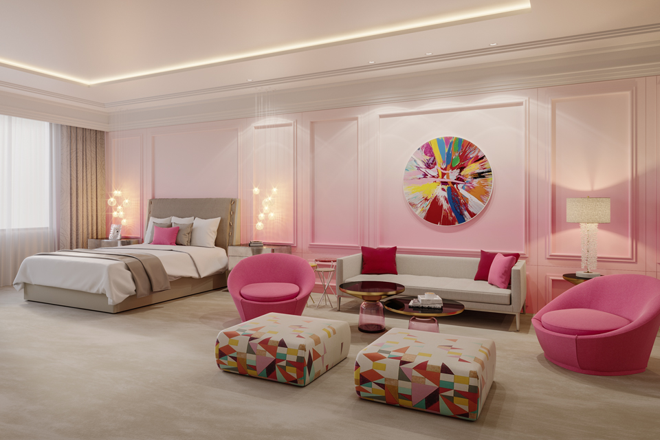 Modern Bedroom Design - Colorful room with ottomans & modern pink chairs next to Victorian style wall, & under modern ceiling