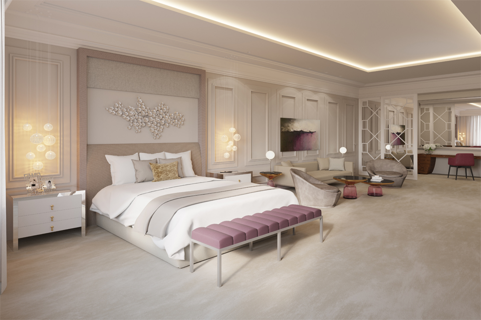 Luxury Bedroom Interior - Modern ceiling & lighting over luxury bed, chairs & ottoman, with Victorian style walls & headboard