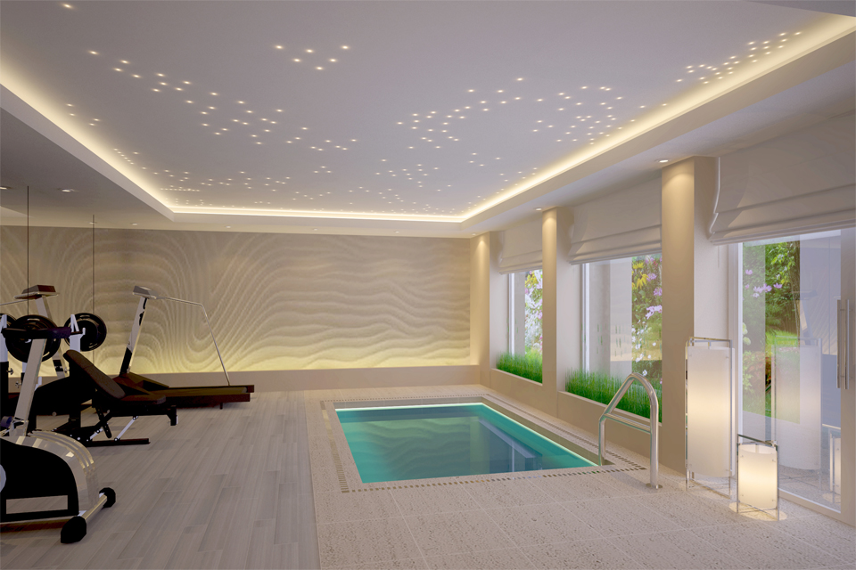 Residential Gym - Starry night lighting overlooking laminated flooring with splash pool, next to textured 3D wall feature