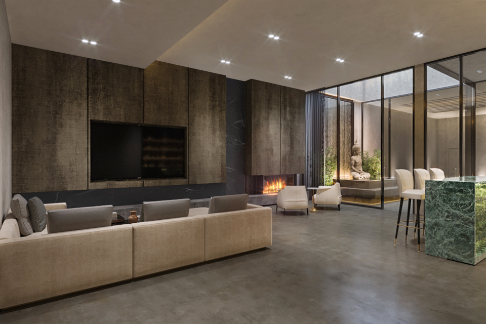 Living Room Design - Built in tv on wood texture wall panels next to modern fire place & large sofa on marble floor