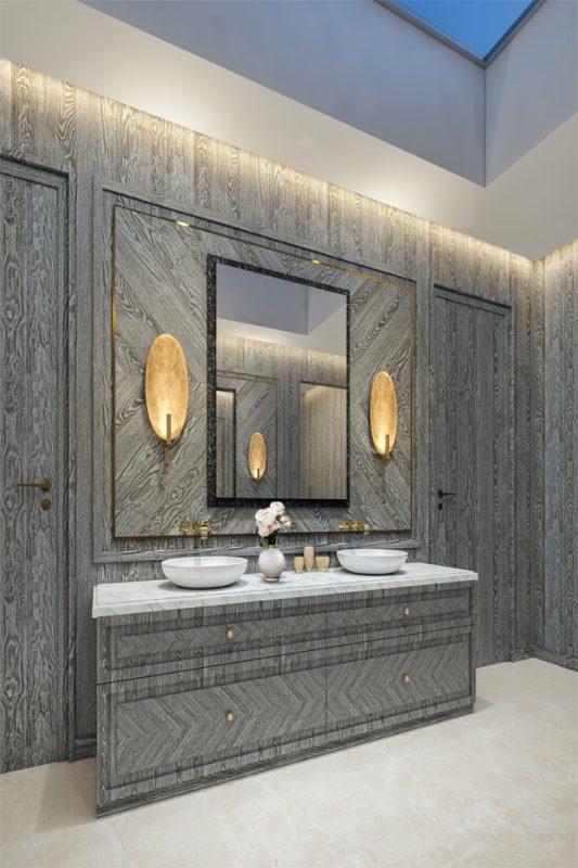 throom Interior Design - Wood grained laminate design walls, door & bathroom storage with white granite counter top