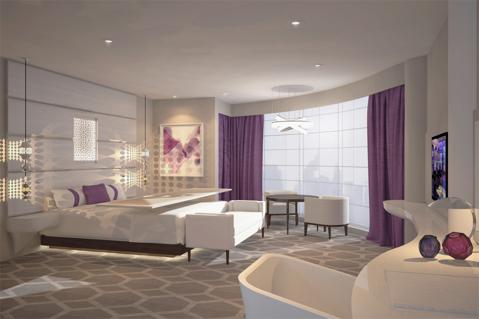 Hotel Interior Design - Hexagon carpet & light feature with mauve curtains, white contemporary furniture & padded wall panels